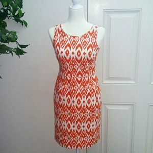 Nine West Orange and White Printed Dress Woven